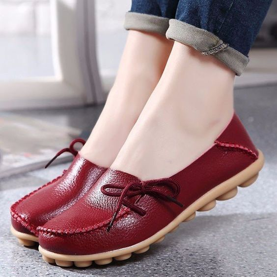 mocasines color vinotinto